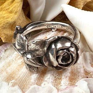 Vintage Reed & Barton Rose Harlequin Ring SZ 7